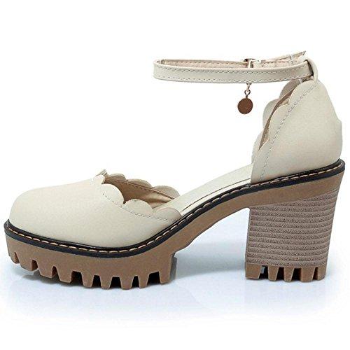 TAOFFEN Women Summer Ankle Strap Sandals Court Shoes Beige-86 eHV98JU0