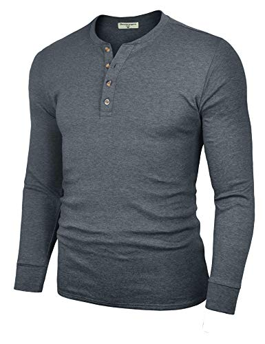 Four Button Long Sleeve Henley - Derminpro Men's Henley Long Sleeve Casual Slim Fit Cotton Shirts Dark Grey Medium
