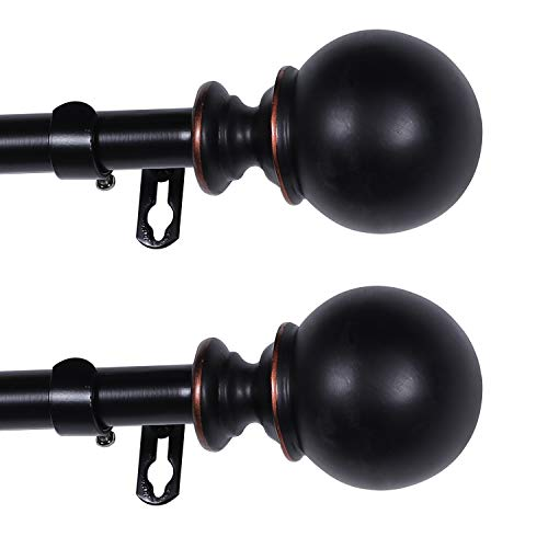 Turquoize Classic Round Window Curtain Rod Set 48-Inch Extends to 84-Inch with Window Treatment Hardware,3/4 - Inch Diamter Drapery Rod Set (4884 Black,2 Pack)