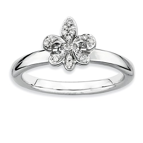 925 Sterling Silver Fleur De Lis Diamond Band Ring Size 8.00 Stackable Fancy Fine Jewelry For Women Gift Set ()