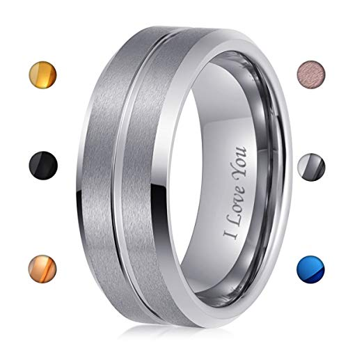 243e4b5c732 LaurieCinya Tungsten Carbide Ring Men Women Wedding Band Engagement Ring  8mm Comfort Fit Engraved  I