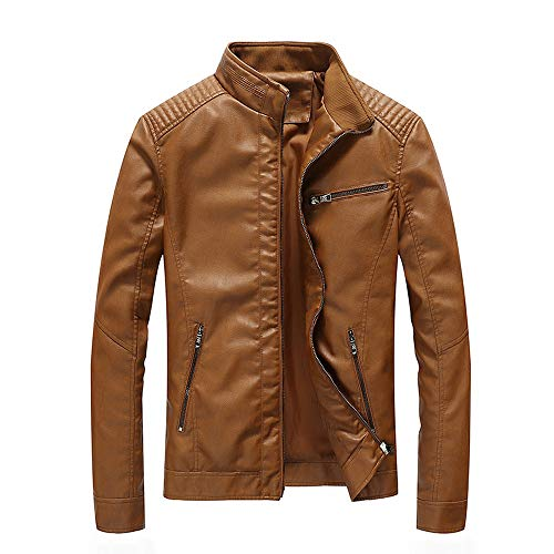 Clearance Sale! Caopixx Jackets for Men's Casual Stand Collar Slim Leather Sleeve Bomber Outerwear ()