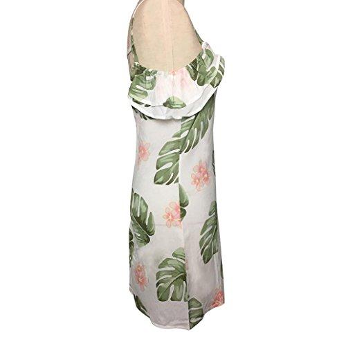 Vovotrade Mujer Fresco Fuera del hombro Escotado por detrás Digital Impresión Señoras Cuello en V Correa Fiesta Noche Mini Vestido Blanco