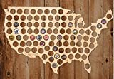 Giant USA Beer Cap Map-24x15 inches - 94 caps - Beer Cap Holder USA(Pine Wood)
