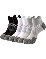 ZULYSTO Ankle Socks Athletic Running Compression Cushioned Low Cut Sock Arch Support for Men Women 6 Pairs