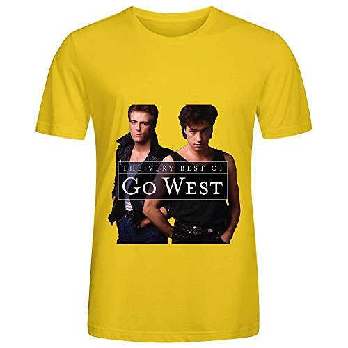 Go West The Very Best Of Go West Tracks Men Crew Neck Cotton Shirts Yellow