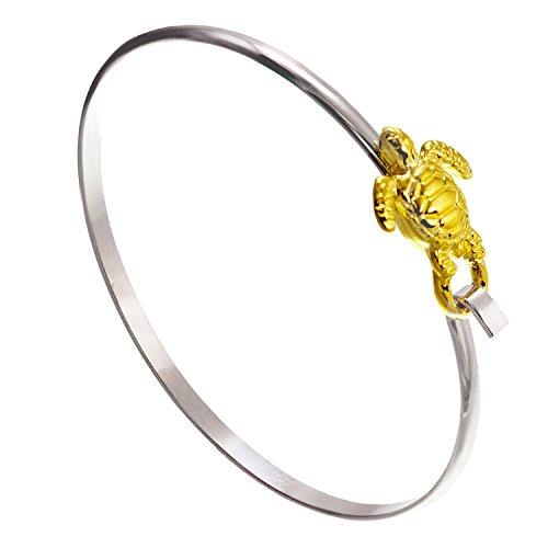 Cape Cod Jewelry-CCJ Sea Turtle Bracelet Latch Cuff Twotone