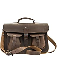 Thick Leather Messenger Bag Rustic Briefcase Handmade by Hide & Drink :: Bourbon Brown
