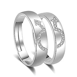 925 Sterling Silver Shiny Diamond Couple Ring Set - Wedding Gift Love