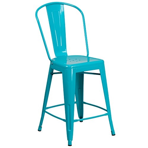 """Flash Furniture 24"""" High Crystal Teal-Blue Metal Indoor-Outdoor Counter Height Stool with Back"""