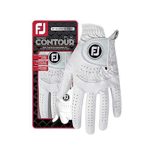FootJoy Women's Contour FLX Golf Glove, Pearl Medium/Large, Worn on Left -