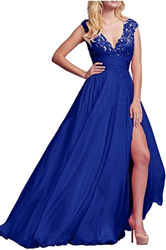 Abschlussballkleider Blau V La Damen Langes Braut Promkleider Marie Abendkleider Ausschnitt Ballkleider Spitze Royal q8qw7f