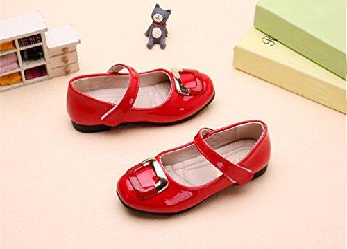 miaoshop Mode Mädchen Party Kleid flachen hübschen Klettverschluss Mary Jane Student Bogen Schuhe #1 Rot