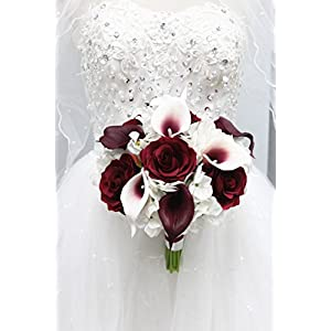 "Angel Isabella Beautiful Hand-Tied Bouquet-Hydrangea Rose Calla Lily-Colors in Navy Wine Burgundy Fuchsia Raspberry Mint Spa Coral Turquoise Horizon Blue (White/Wine Burgundy, 9"") 34"