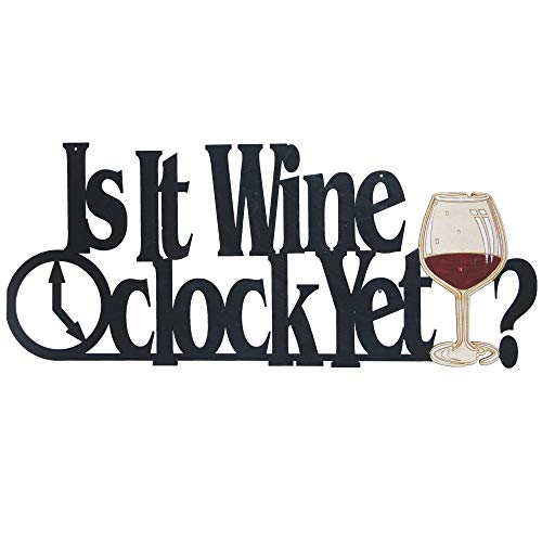 Memory Mats & Word Art Wine Themed Decorative Wall Signs, Kitchen, Home, Restaurant Decoration (is it Wine O'Clock Yet?)