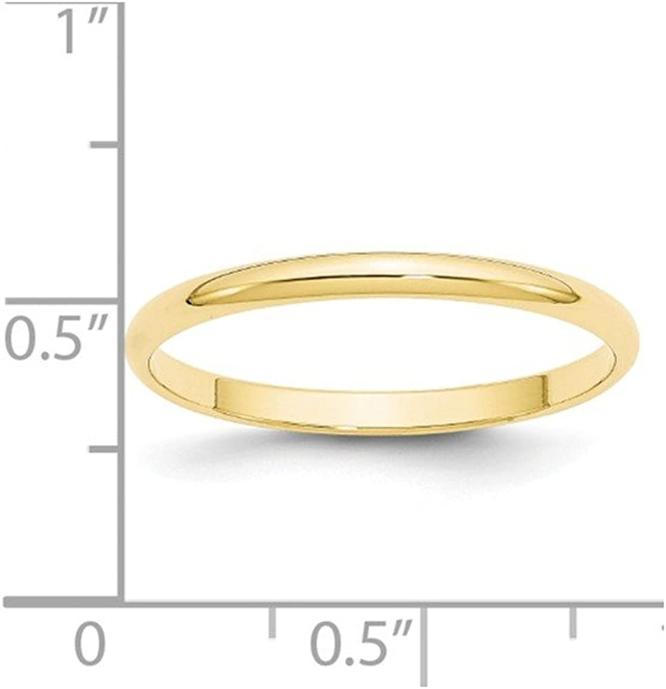 Size 12.5 Bonyak Jewelry 10k Yellow Gold 3 mm Half Round Lightweight Band