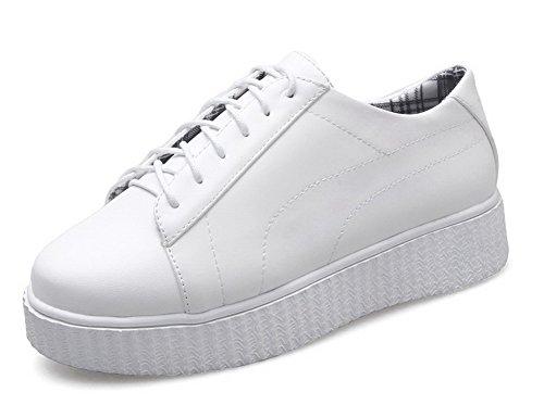 Allhqfashion Chaussures À Lacets Bout Fermé Talon Bas Chaussures En Matériau Souple Blanc