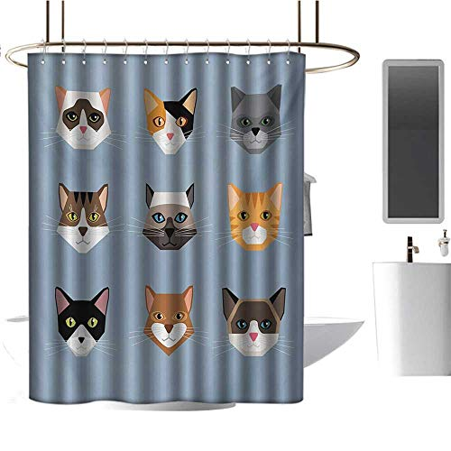 (Qenuan Waterproof Fabric Shower Curtain Cat,Animal Portrait Set with Cute Kittens Face Whiskers Contemporary Caricature Pattern,Multicolor,Metal Rust Proof Grommets Bathroom Decoration)