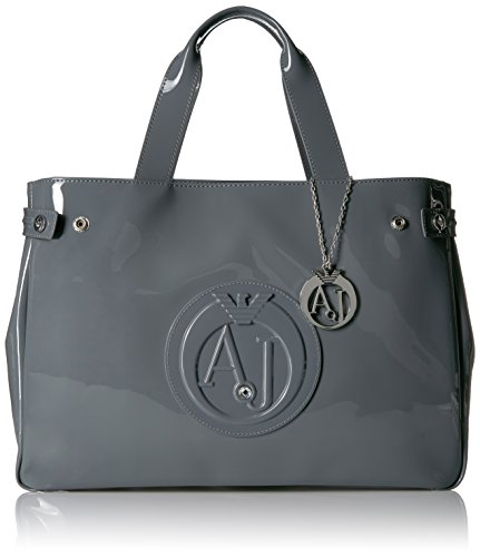 Patent Leather Logo Handbag (Armani Jeans Eco Patent Leather East West Logo Tote, Grey)