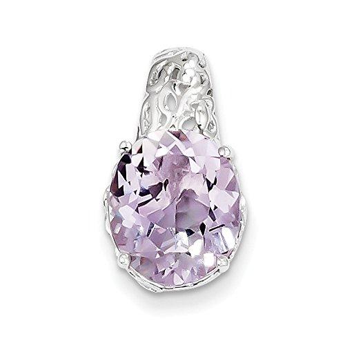 Pendentif Quartz Rose-Argent 925/1000-JewelryWeb