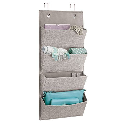 mDesign Over-The-Door and Wall Mounted Fabric Closet Storage Hanging Organizer Holder for Clutch Purses, Handbags, Scarves, Sunglasses - 4 Pockets, Linen