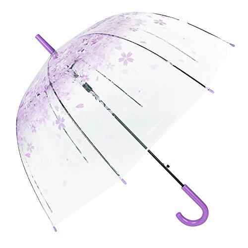 Cúpula de paraguas Transparente Paraguas romántico portátil Sakura Pintura Automático Apertura Transparente Paraguas Largo Mango para Mujeres Viaje compacto ...
