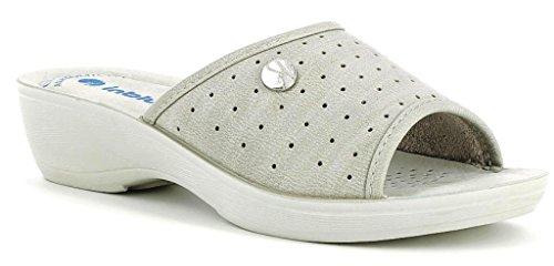 INBLU - Zapatillas de estar por casa de piel sintética para mujer gris gris 35
