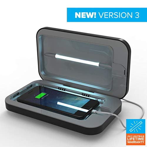 PhoneSoap 3 UV Cell Phone Sanitizer and Dual Universal Cell Phone Charger | Patented and Clinically Proven UV Light Sanitizer | Cleans and Charges All Phones - Black from Phonesoap