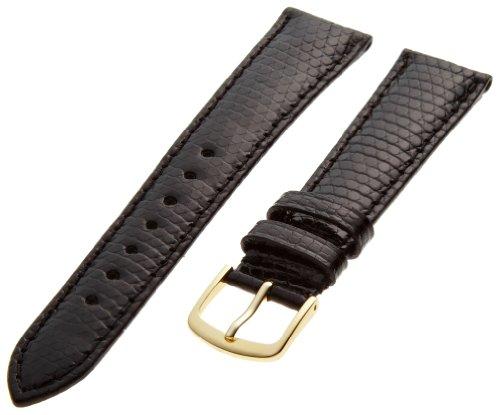 Hadley-Roma Men's MSM715RA-190 19-mm Black Genuine Java Lizard Leather Watch Strap