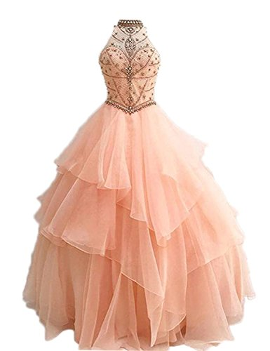 Tiered Beading - Chumuse Women's Tiered Beading Quinceanera Dresses Open Back Organza Prom Gowns