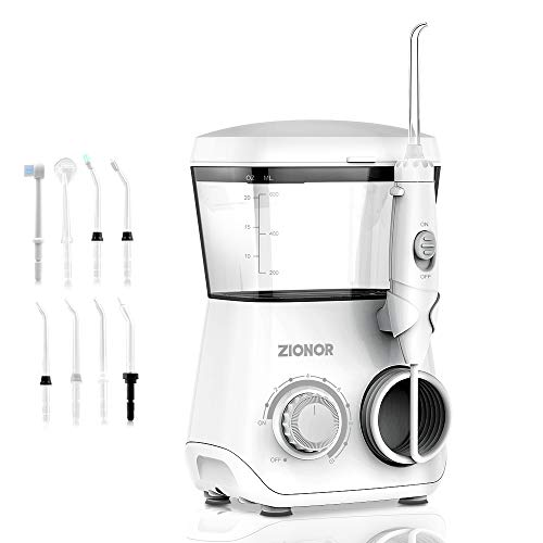 ZIONOR D600 Water Flosser Professional Dental Flosser Electric Oral Irrigator with 20oz 8 Jet Tips 10 Pressure Setting for Teeth and Braces