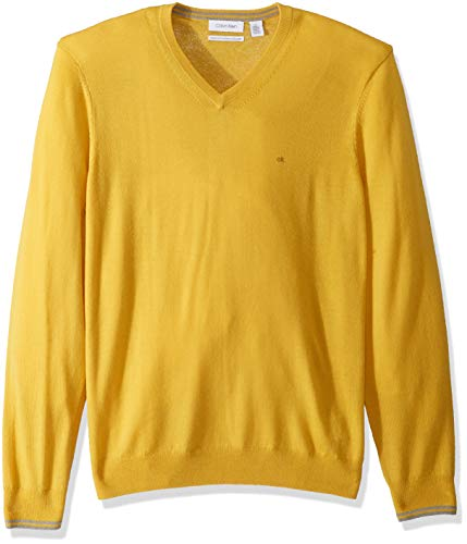 (Calvin Klein Men's Merino Sweater V-Neck Solid, Yellow Mustard, Medium)
