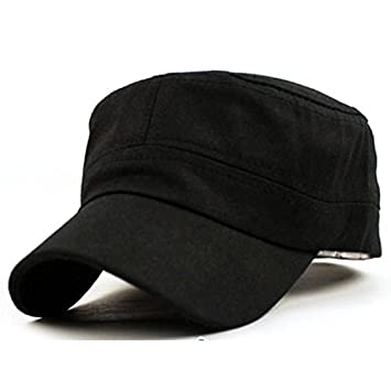 5e663094924 Amazon.com  Gifts For Men ! Charberry Mens Flat Top Hat Classic Plain  Vintage Army Military Cadet Style Cotton Cap Hat Adjustable (Black)  Baby
