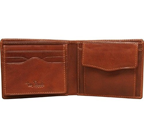 Tony Perotti Italian Bull Leather Bifold Wallet with Removable ID Card Case and Coin Pocket, Cognac