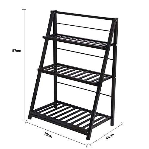 (STURDY YYHJ Living Room 3 Layer Wrought Iron Flower Stand Floor Type Room Built-in Rack Modern Minimalist Balcony Flower Pot Rack Flower Shop Display Stand Plant Storage Rack (Color : Black))
