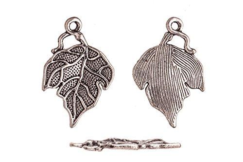 (Drops/Charms, Grape Leaf Antique-Silver Plated 17.5X26mm sold per 10pcs/pack (3packs bundle), SAVE $2)