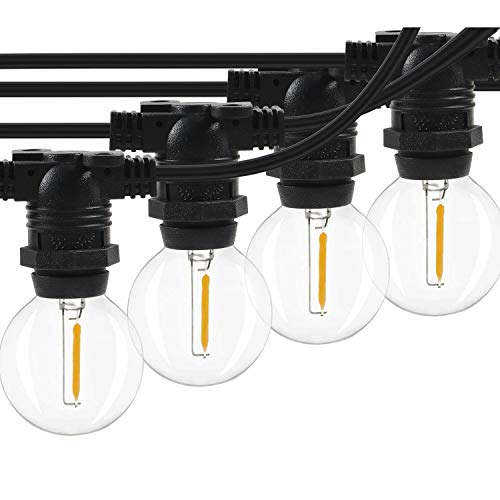 Phiersun 29FT LED Outdoor String Lights,Vintage Commercial Grade Lights with 25x E12 Base Sockets and 26pcs 0.6W G40 Globe Bulbs, Hanging Light for Patio Cafe Party Bistro Backyard Pergola