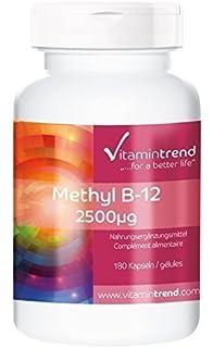 Metilcobalamina 2500µg – vegana – gran dosificación – 180 cápsulas de vitamina B-12 –