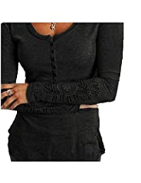 Tasatific Womens Henley Shirt Lace Stitching Sleeve T-Shirt Blouse Tops
