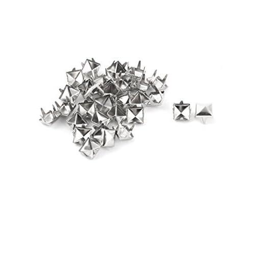 DealMux Metal Square Pyramid Shape DIY Rivet Studs 6mm 30pcs Silver Tone for Clothing Bag