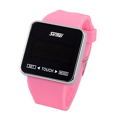 SKMEI Touch Screen Jelly Rubber Band Digital LED Waterproof Boys Girls Sport Casual Wrist Watches Pink by SKMEI (Image #1)