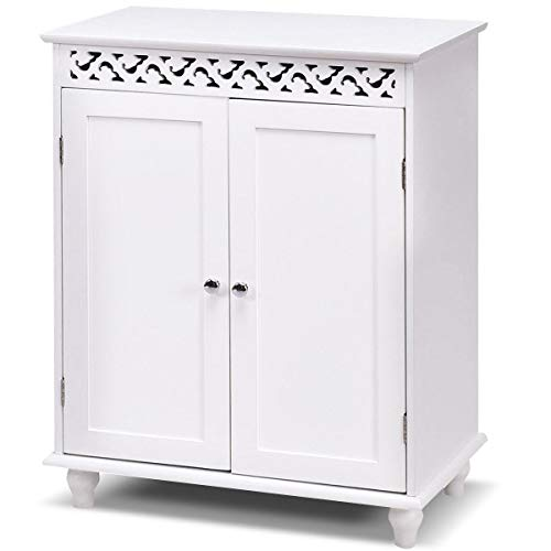 Bathroom Floor Cabinet Storage Cupboard 2 Shelves Free Standing Wood White