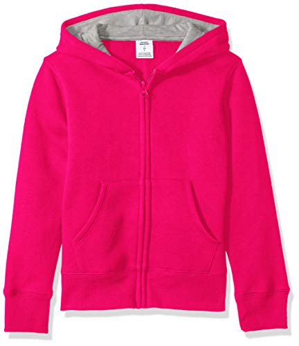 Amazon Essentials   Girls' Fleece Zip-up Hoodie, Raspberry Sorbet M (8) ()