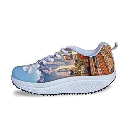 - YOLIYANA Landscape Cool Shake Shoes,Downtown Salt Lake City Skyline in Utah USA Railroads Mountains Buildings Urban for Women,US Size6