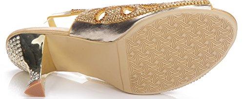 Abby Womens Fashion Wedding Sposa Damigella Donore Unico Spettacolo Partito Grazioso Sandalo In Microfibra Tacco Alto Oro