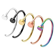 Oidea 5pcs Assorted Color 20G High Polished Smooth Stainless Steel Piercing Hoop Nose Rings,Hypoallergenic