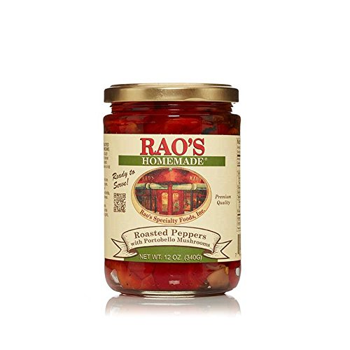 Portobello Mushroom (Rao's Homemade Roasted Peppers with Portobello Mushrooms, 12 Oz Jar, 3 Pack, Packed in Olive Oil with Garlic, Great for Appetizers, Antipasto Platters, Pasta, Salad, Sandwiches, Pizza)