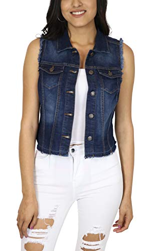 StyLeUp Women's Classic Casual Vintage Denim Jean Jacket/Vest Regular & Plus Size (90073 DK M)