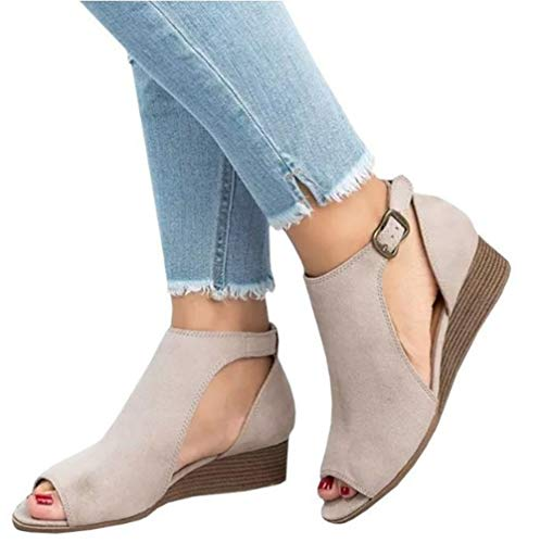 a7ed5d393424f 42 Sandale Boucle Plus Femmes Taille La Bottes Compensée Sandales Moyen  Gladiator Femme Gray Peep Dames ...