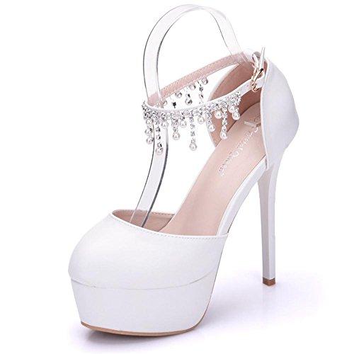 Boda Nupcial Zapatos Mujer Perla Tobillo Correa Blanco Vestir Alto Tacón Plataforma Noche Primavera Señoras Zapatillas tamaño 35-41 White